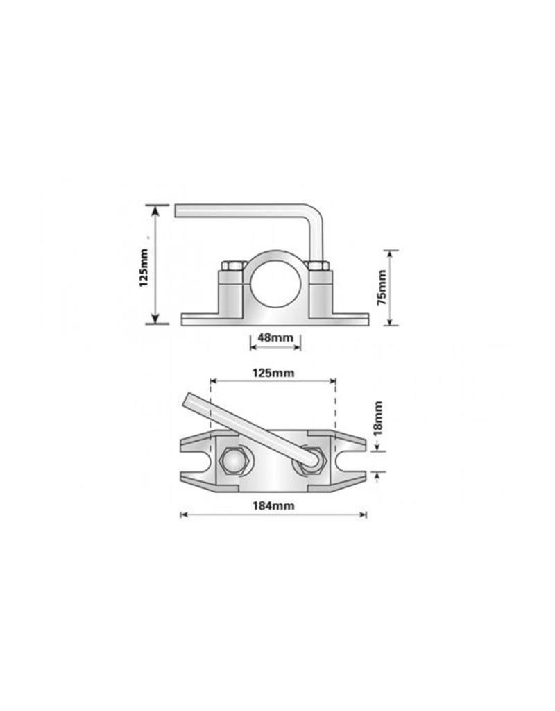 48mm Cast Steel Ribbed Clamp for Jockey Wheel and Prop Stands | Fieldfare Trailer Centre