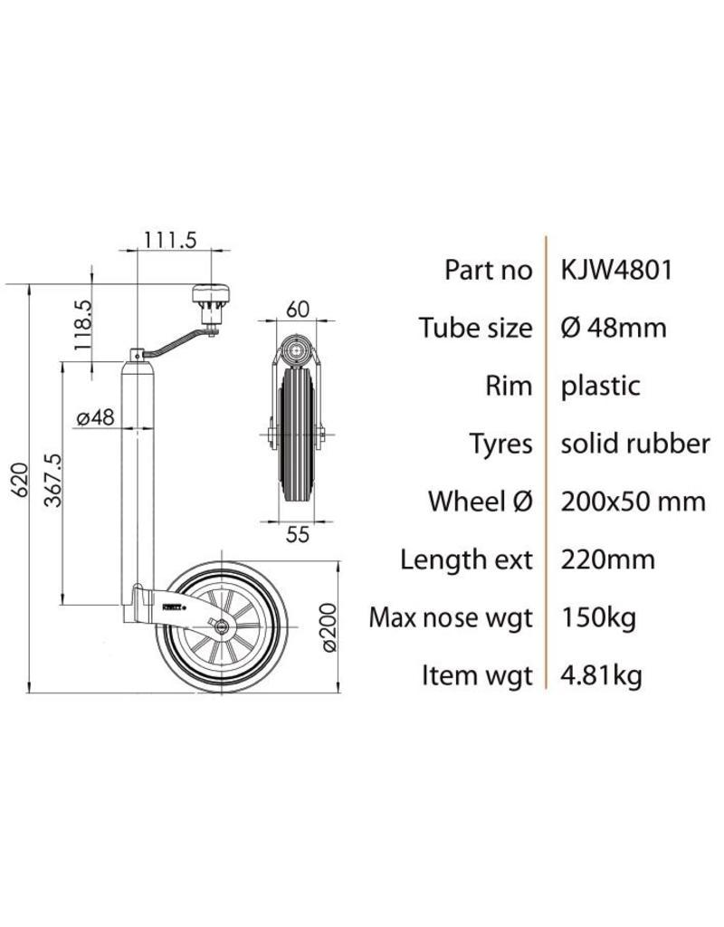Kartt 48mm Kartt Orange Jockey Wheel Plastic Rim Rubber Tyre | Fieldfare Trailer Centre