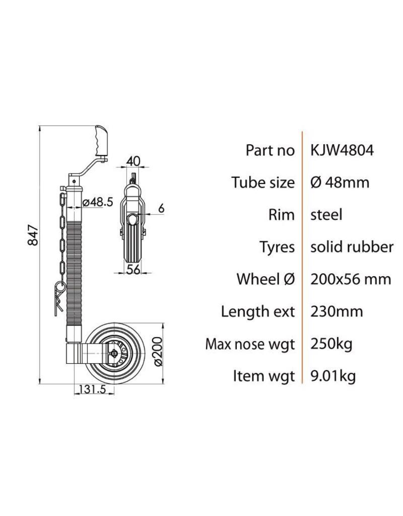 48mm Kartt Orange Jockey Metal Rim Solid Wheel HD Ribbed | Fieldfare Trailer Centre