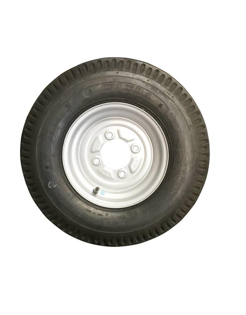 500 x 10 Wheel AND Tyre 6 PLY in Silver 4 Stud 115mm pcd | Fieldfare Trailer Centre