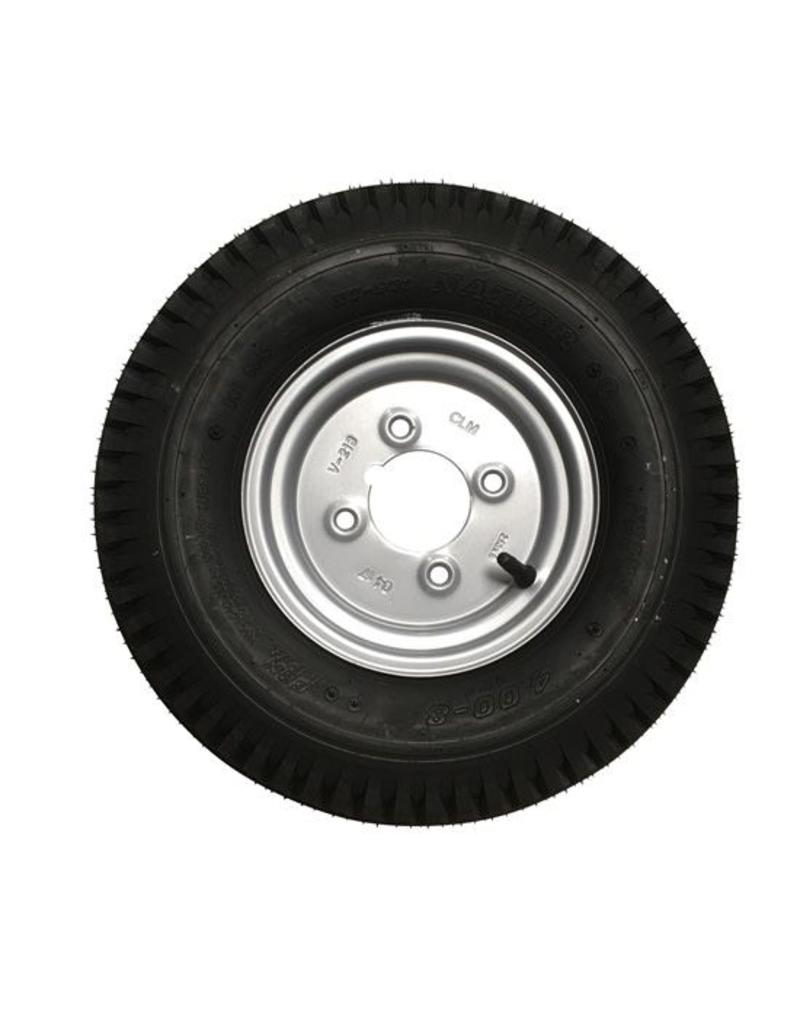 400 x 8 Wheel AND Tyre 4 PLY in Silver 4 inch  PCD | Fieldfare Trailer Centre
