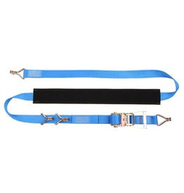 4m x 35mm Ratchet strap with claw hooks AND Over Wheel wear sleeve