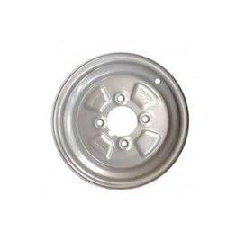 10 inch Rim Steel 3.50J x 4 inch PCD x 4 Holes in Silver