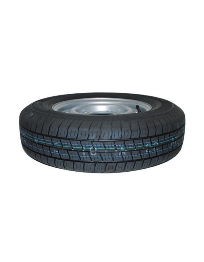 175R 13C Trailer Wheel AND Tyre 74N 4 STUD 5.5 inch PCD SILVER | Fieldfare Trailer Centre