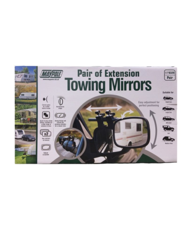 Extension Towing Mirrors for caravans and trailers  | Fieldfare Trailer Centre | UK
