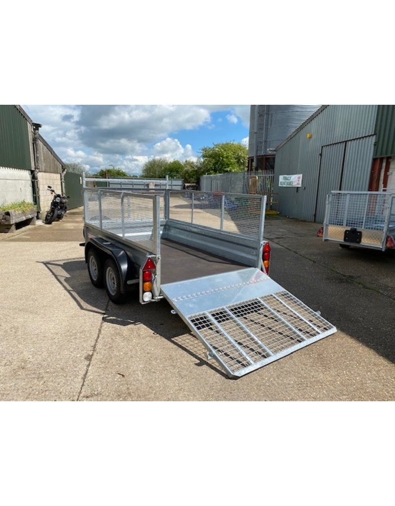 Wessex Trailers Wessex WG85 Twin Axle Braked Goods Trailer 2.6t GVW, Ramp Tailgate, Mesh Sides, Spare Wheel & Carrier