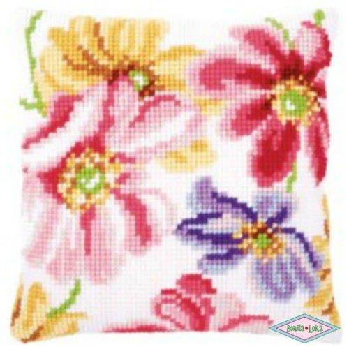 Verachtert Kleurige Bloemen kussen Borduurpakket
