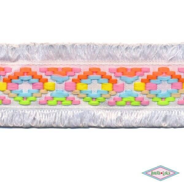 Franjeband Ibiza stijl wit 45mm