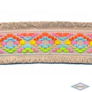 Franjeband Ibiza stijl zand 45mm