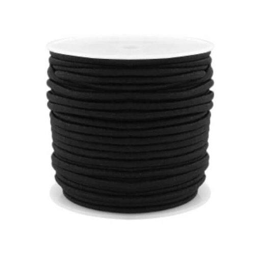 kralen.nl Gekleurde elastiek 2,5mm black 0,5m