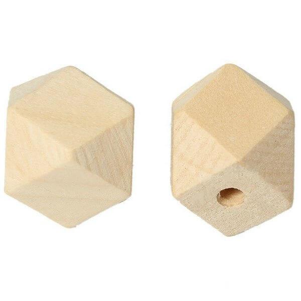 Houten kraal hexagon 15 mm
