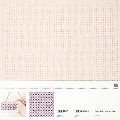Vilt kussen borduren roze 42x42 cm