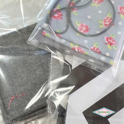 grijs-zwart-wit (1 met elastiek) 1 mondkapje pakket