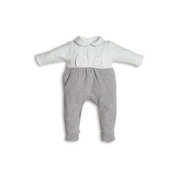 First First Ribbon Strass on front Babypakje Grijs/Wit