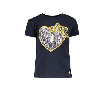 Le Chic Le Chic Slangenprint Hartje T-shirt Blauw