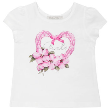 Balloon Chic Balloon Chic Bloemen Hart T-shirt Wit