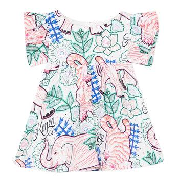 Kenzo Kenzo Wildlife Ruffle Jurk Roze/Blauw