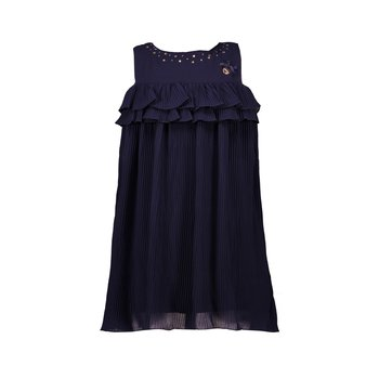 Le Chic Le Chic Strass Voille Plisse Jurk Donkerblauw