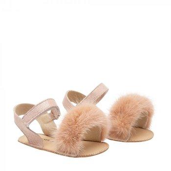 Babywalker Babywalker Sandaaltjes met Bontje Dusty Roze