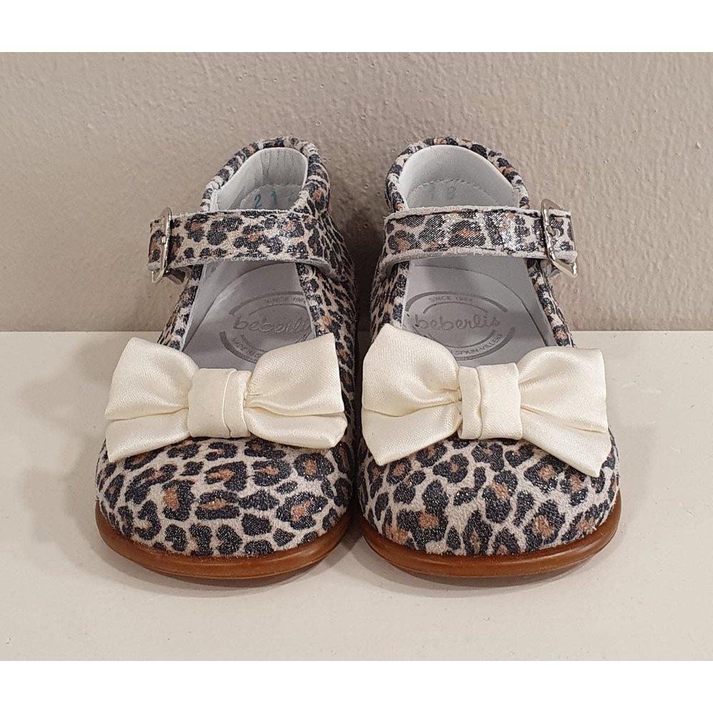 Beberlis Beberlis Luipaard Schoenen met Creme Strikje