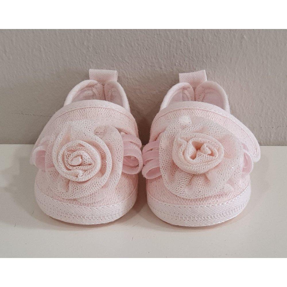 Aletta Aletta Babyschoentjes Roze Kant Glitter