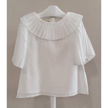 Patachou Patachoun Shirt met Plooi Mouwtjes Wit