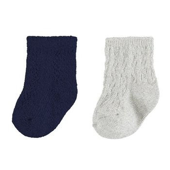 Mayoral Mayoral 2 paar sokjes donkerblauw/creme