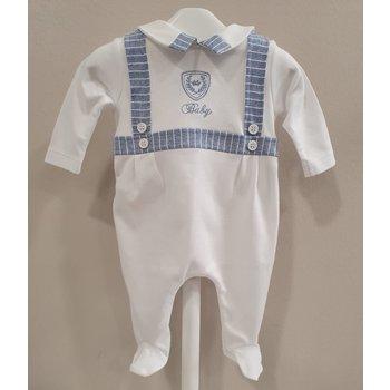 Aletta Aletta Babypakje+Mutsje  Wit/Blauw