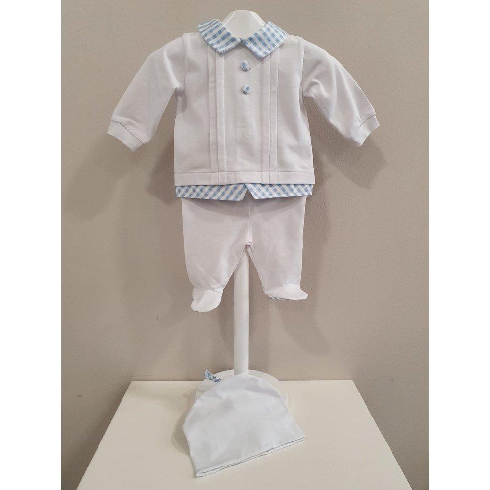 Marlu Marlu 2-delig Babypakje met Mutsje Wit/Blauw