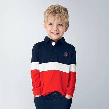 Mayoral Mayoral Longsleeve Polo Rood/Wit/Blauw