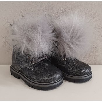Babywalker Babywalker Hoge Schoenen met PomPom Donkergrijs