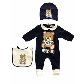 Moschino Moschino Babypakje met Mutsje en Slabber Donkerblauw