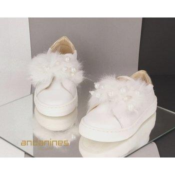 Andanines Andanines Sneakers met Parels Wit