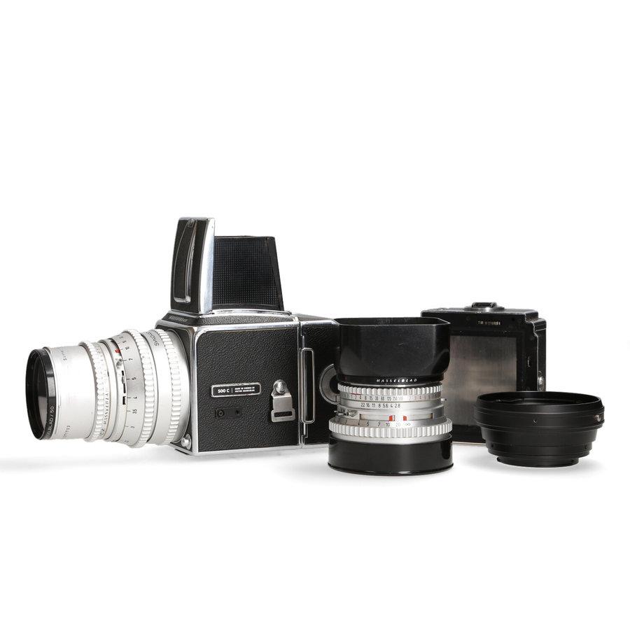 Hasselblad 500 C/M + 80mm / 150mm en filmhouder