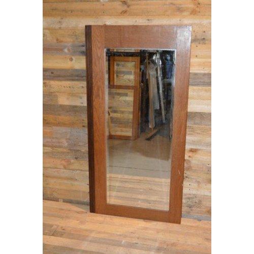 Eiken kastdeur met een facet geslepen spiegel