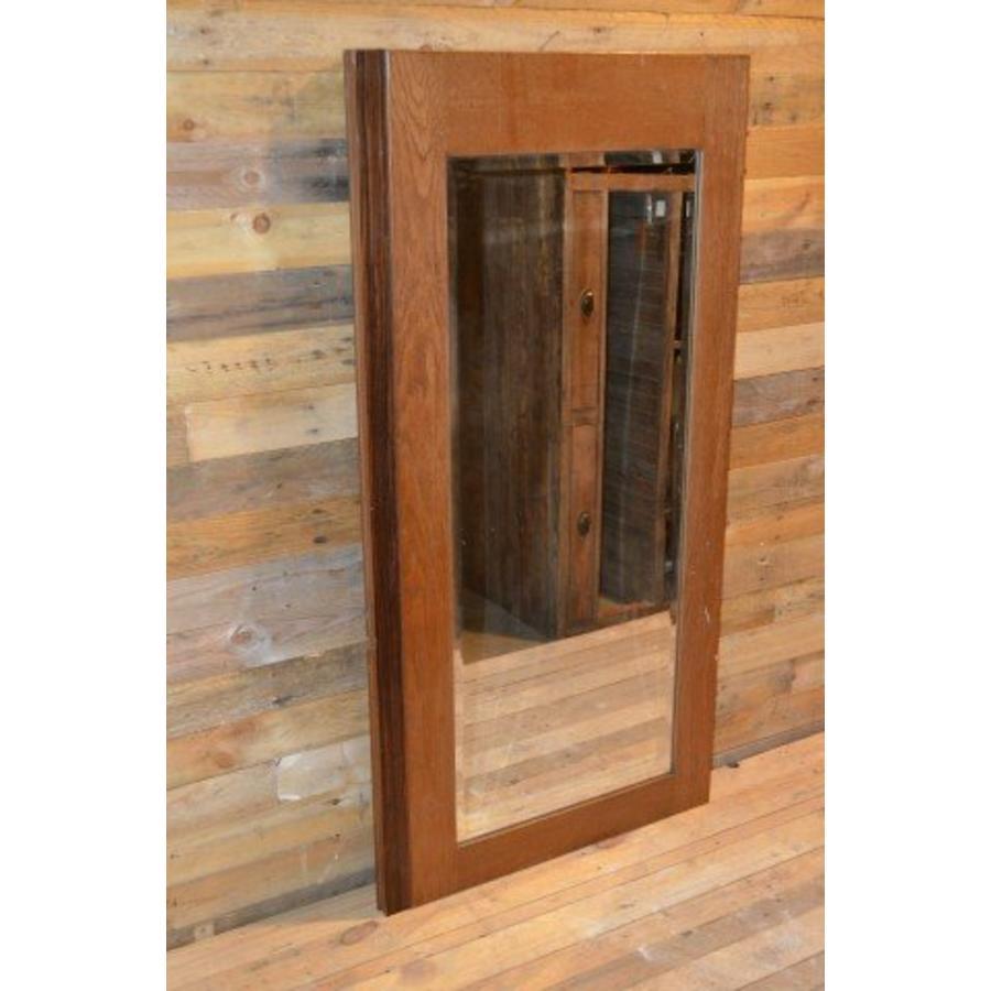 Eiken kastdeur met een facet geslepen spiegel-2