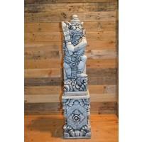 thumb-Balinese tempelwachter links kijkend + pilaar-1