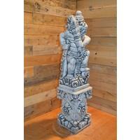 thumb-Balinese tempelwachter links kijkend + pilaar-2