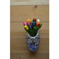 thumb-Klomp van aardewerk met houten tulpen-2