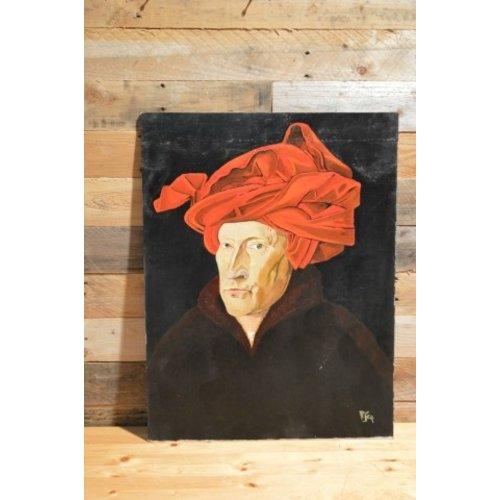 Schilderwerk Man met rode tulband