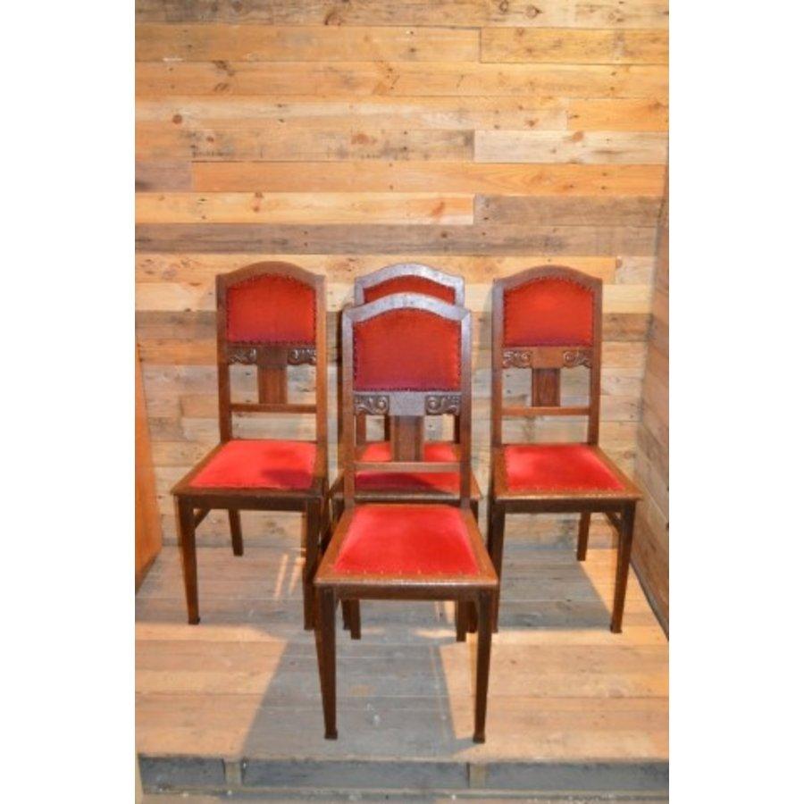4 stoelen oud eiken met rode stof-1
