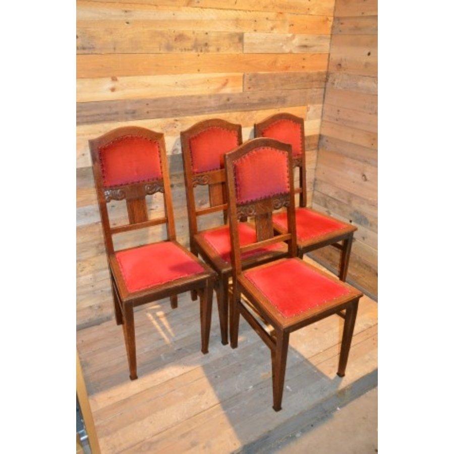 4 stoelen oud eiken met rode stof-2