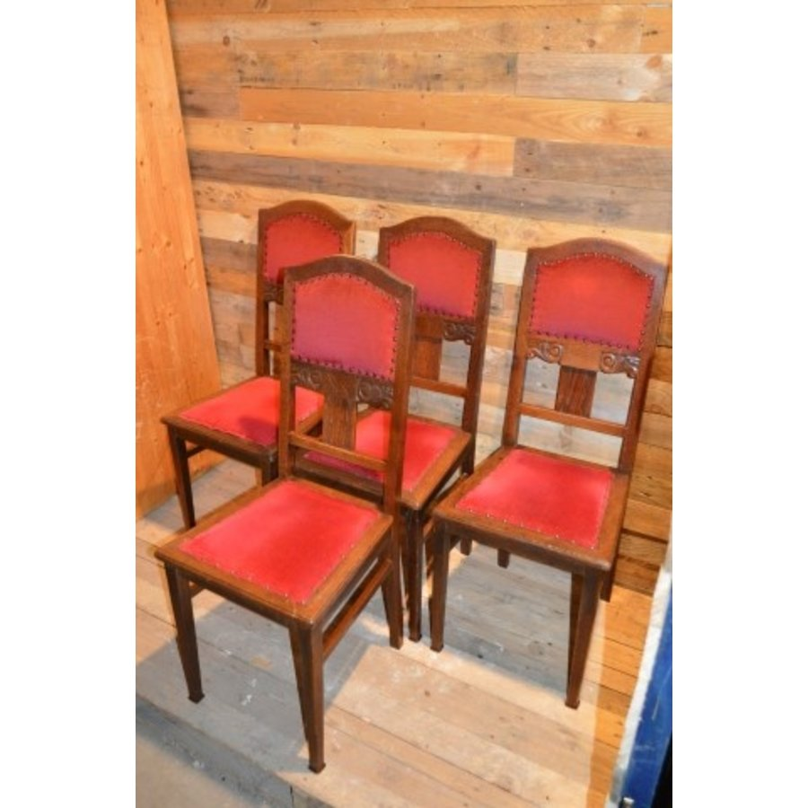 4 stoelen oud eiken met rode stof-3