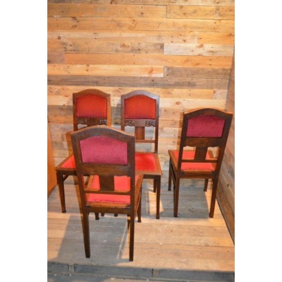 4 stoelen oud eiken met rode stof-4