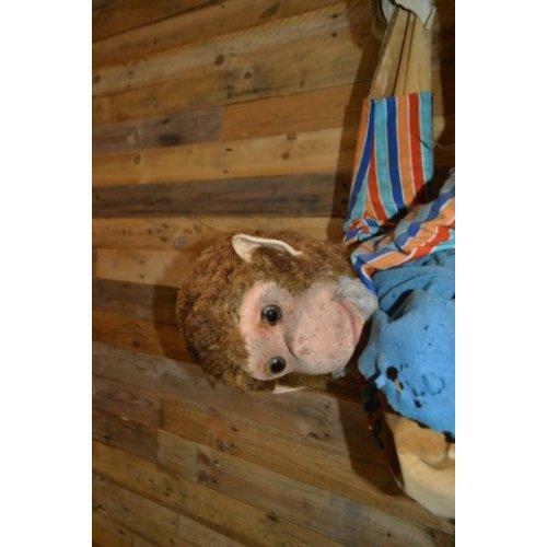 Vintage aap in palmboom, opknapper