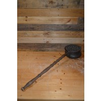 thumb-Bedden pan van vroeger met eiken steel en koperen pan-4
