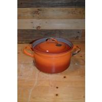 thumb-Oranje soeppan geëmailleerd staal met deksel-1