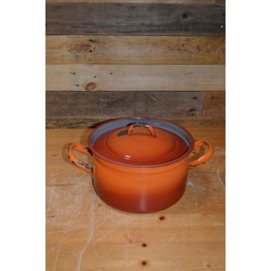 Oranje soeppan geëmailleerd staal met deksel-2