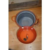 thumb-Oranje soeppan geëmailleerd staal met deksel-3