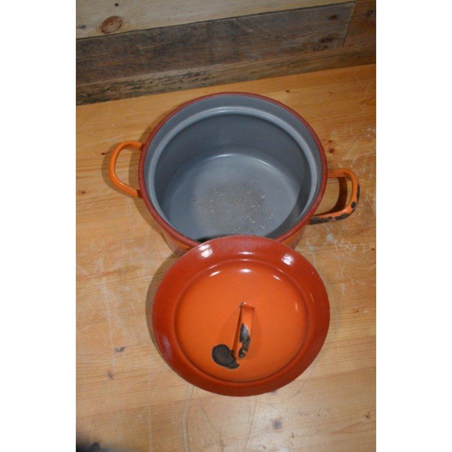 Oranje soeppan geëmailleerd staal met deksel-3